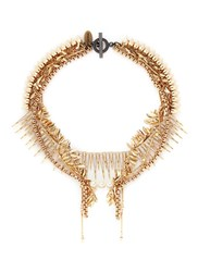 Venna Strass Pave Fringe Mix Chain Necklace Metallic