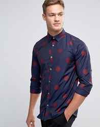 Ted Baker Shirt With All Over Flower Print In Regular Fit Navy