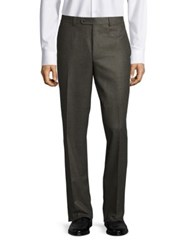 Saks Fifth Avenue Flat Front Wool Pants Olive