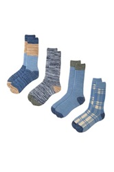 Lucky Brand Colorblock And Plaid Crew Cut Socks Pack Of 4 Blue
