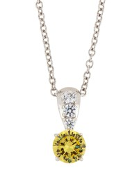 Fantasia By Deserio Canary And White Cz Crystal Pendant Necklace Women's