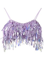 Ashish Sequin Crop Top Pink And Purple