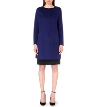 Armani Collezioni Collarless Wool And Cashmere Blend Coat Royal Blue Dark Grey