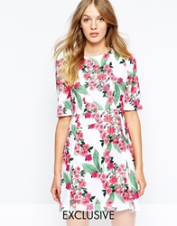 Wolf And Whistle Tailored Shift Dress In Placement Floral Print Multi