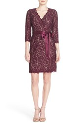 Adrianna Papell Women's Wrap Lace Dress Mulberry Nude
