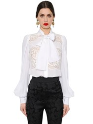 Dolce And Gabbana Silk Crepe De Chine Lace Shirt