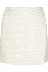 Proenza Schouler Cotton Blend Boucl And Eacute Wrap Mini Skirt White