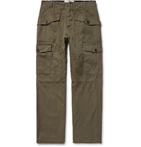 Loewe Herringbone Cotton And Linen Blend Cargo Trousers Army Green