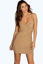 Boohoo Wrap Front Ruched Skirt Mini Dress Camel