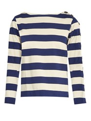 Mih Jeans Button Sleeve Breton Cotton Shirt Blue Stripe