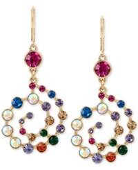Betsey Johnson Gold Tone Multi Crystal Spiral Drop Earrings