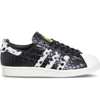 Adidas Superstar 80S Snake Embossed Leather Trainers Black Snake Leopard
