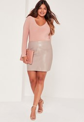 Missguided Plus Size Faux Leather Mini Skirt Grey Grey