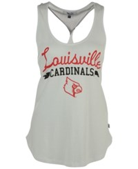 G3 Sports Women's Louisville Cardinals Short Stop Twist Back Tank Top White