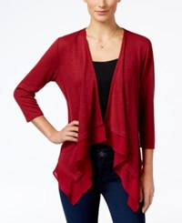 Ny Collection Petite Waterfall Cardigan Cayenne Moat