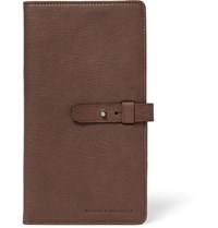 Brunello Cucinelli Textured Leather Travel Wallet Brown