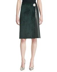 Calvin Klein Leather A Line Wrap Skirt Forest Green