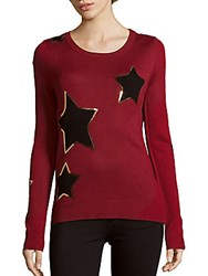 Saks Fifth Avenue Star Slim Fit Sweater Red