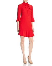 Karen Millen Tie Neck Dress 100 Bloomingdale's Exclusive Red