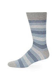 Saks Fifth Avenue Classic Striped Cotton Blend Socks Blue
