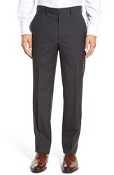 Santorelli Men's Big And Tall Flat Front Check Virgin Wool Trousers Charcoal