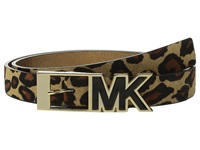 Michael Michael Kors 25Mm Haircalf Belt With Contrast Patent Inlay Mk Buckle Leopard Women's Belts Animal Print