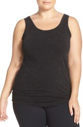 Plus Size Women's Hard Tail Long Scoop Neck Tank Mineral Wash Charcoal
