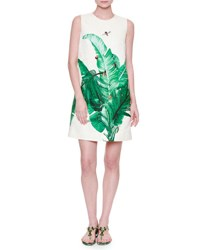 Dolce And Gabbana Banana Leaf Print Shift Dress W Bee Embroidery White Green White Green Banan