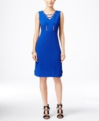 Inc International Concepts Petite Lace Up Sheath Dress Only At Macy's Goddess Blue