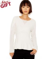 Bar Iii Long Sleeve Peplum Sweater Only At Macy's Washed White