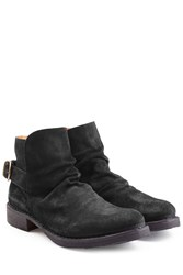 Fiorentini Baker And Suede Buckle Back Ankle Boots Black
