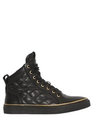 Balmain Quilted Leather High Top Sneakers