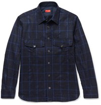 Isaia Iaia Checked Wool And Cahmere Blend Hirt Navy