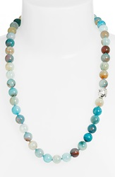 Simon Sebbag Beaded Necklace Mixed Teal Agate