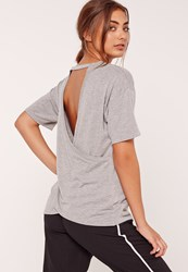Missguided Wrap Back T Shirt Grey