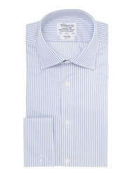 T.M.Lewin Bengal Stripe Slim Fit Long Sleeve Formal Shirt Blue