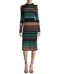 M Missoni Long Sleeve Ripple Stitch Midi Dress Coral