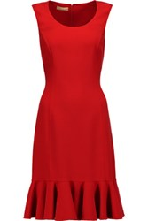 Michael Kors Collection Ruffled Stretch Wool Dress Claret