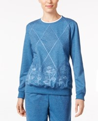 Alfred Dunner Quilted Embroidered Sweatshirt Denim