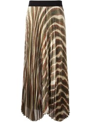 Alice Olivia 'Zebra' Pattern Pleated Skirt Multicolour