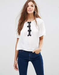 Girls On Film 3 4 Sleeve Top With Bow Detail Monochrome White