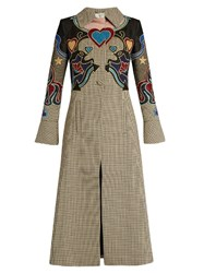 Mary Katrantzou Oliver Cowboy Applique Hound's Tooth Coat Beige Multi