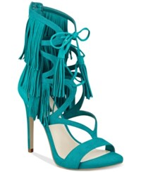 Guess Women's Abria Fringe Embellished Sandals Women's Shoes Green Suede
