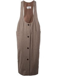 Jean Paul Gaultier Vintage Midi Pinafore Dress Nude And Neutrals