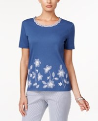 Alfred Dunner Embroidered Short Sleeve Top Navy