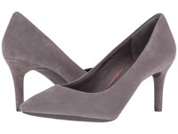 Rockport Total Motion 75Mm Pointy Toe Pump Eiffel Tower Kid Suede High Heels Pewter