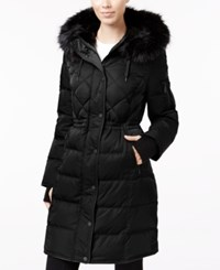 Bcbgeneration Faux Fur Trim Cinched Waist Puffer Coat Black