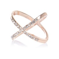 River Island Womens Rose Gold Tone Entwined Diamante Ring