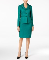 Le Suit Jacquard Three Button Skirt Emerald Green