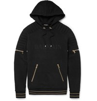 Balmain Balain Fleece Back Cotton Jersey Hoodie Black